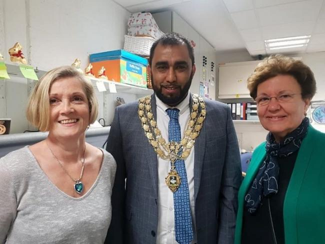 Shopmobility manager Claire McMackin with mayor Cllr Maz Hussain and Cllr Lesley Clarke OBE