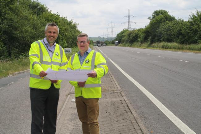 Mark Shaw (right) with TfB's Kevin Allen finalising the surfacing plans