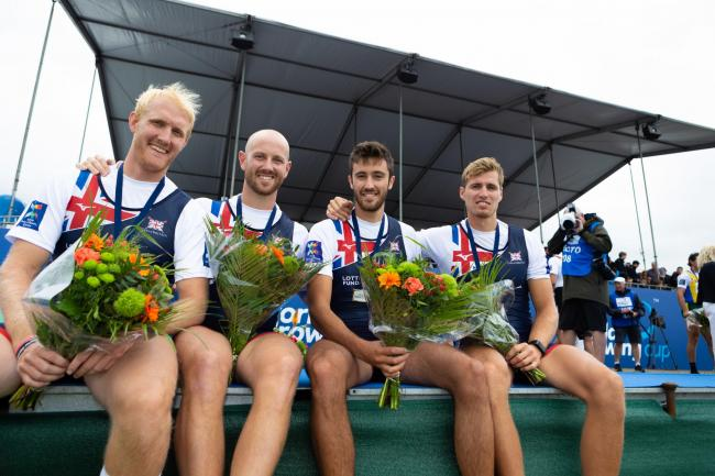 The Great Britain Rowing Team men's four after winning a silver medal in the final during World Cup III in Rotterdam, Holland on Sunday. PHOTO: Anthony Benoit/Aesthetic Sport