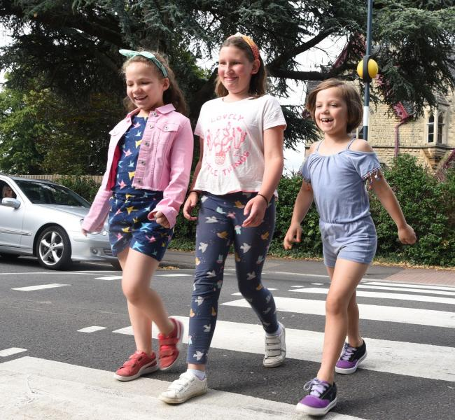 Pollyanna, 7, Matilda, 10, and Eliza, 9, for Road Safety Week