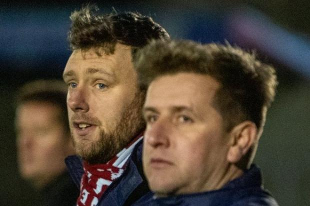 Chesham United joint managers Michael Murray, left, and James Duncan, right, saw their side draw 1-1 with Taunton Town in the BetVictor Southern Premier South on Saturday. PHOTO: Trevor Hyde.