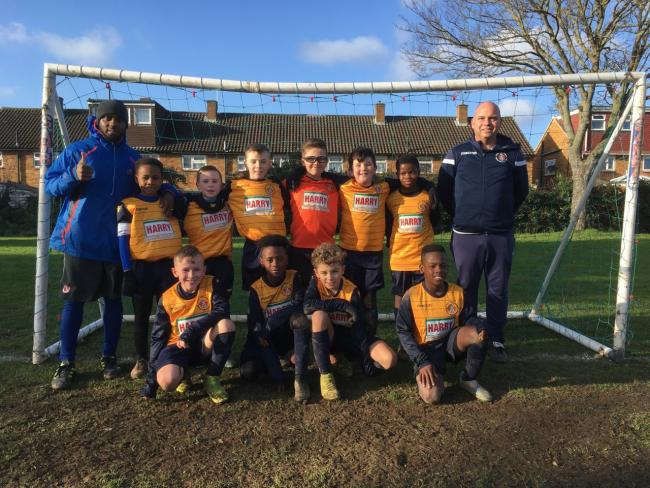 The Slough Town Juniors Under 10s team in the Thames Valley Football Development League on Sunday.