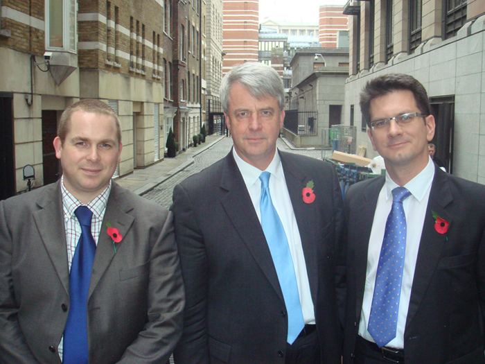 Mr Hayday (left) and Mr Baker (right) meeting Andrew Lansley in 2009