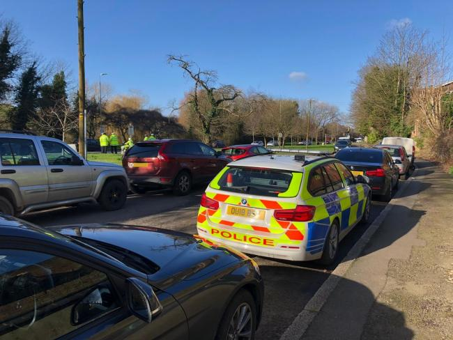 The police activity on London Road, High Wycombe - note: None of the vehicles pictured were stopped as part of the operation