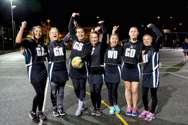 The Holidays team pulled away late on to beat Blue Magnets 2 46-14 in Division Four of the Maidenhead District Netball League at Kidwells Park on Wednesday. PHOTO: Mike Swift.