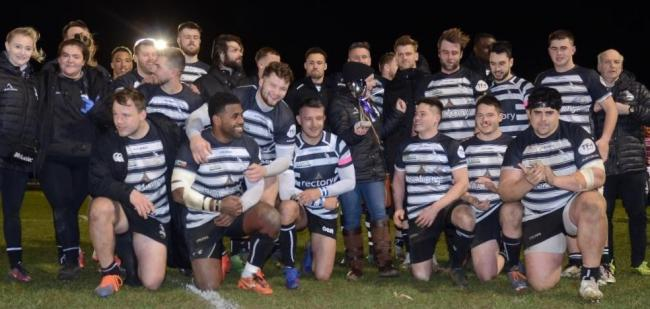 Chinnor celebrate after beating The RAF to win the Lauren Cyster Megabowl match. PHOTO: David Howlett.