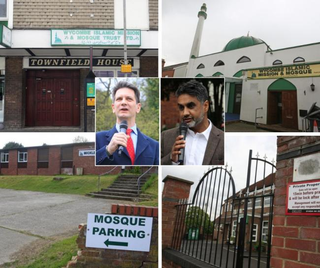 Clockwise from top left: Townfield Mosque, Jubilee Road, Castlefield Mosque, Micklefield Mosque. Inset: Steve Baker and Khalil Ahmed