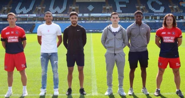 (from left to right) Sam Grace, Malachi Linton, Andron Georgiou, Anis Mehmeti, Andre Burley and Gareth Ainsworth