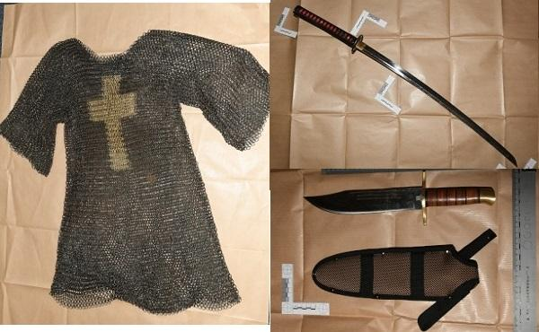 Bucks Free Press: Left: Chainmail, Top right: Sword Sopp was found in possession of, Bottom right: Murder weapon