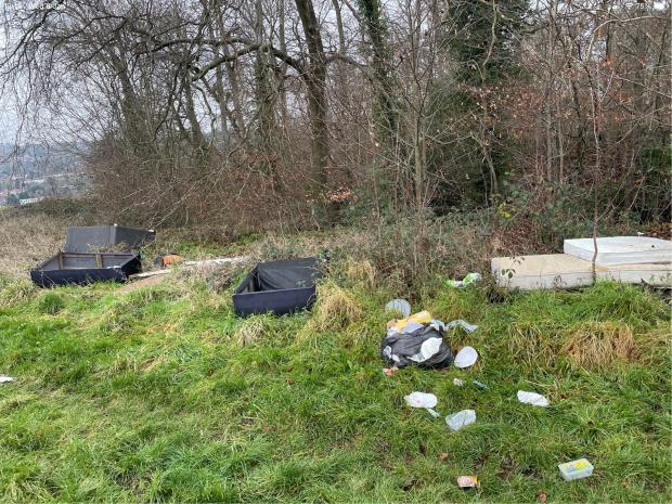 Bucks Free Press: PICTURED: Discarded bags and other rubbish near Desborough Castle Hillfort