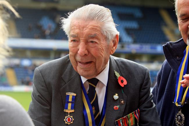 Monty Seymour at the Royal British Legion's poppy launch at Adams Park in 2014
