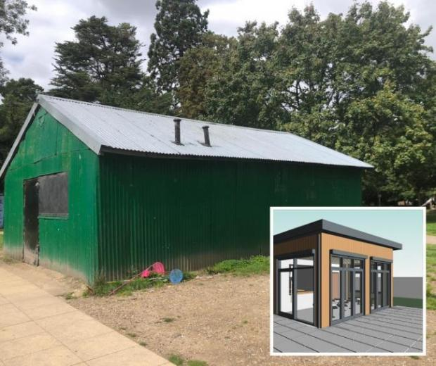 Bucks Free Press: PICTURED: The old boat house cafe INSET: How the new cafe might look