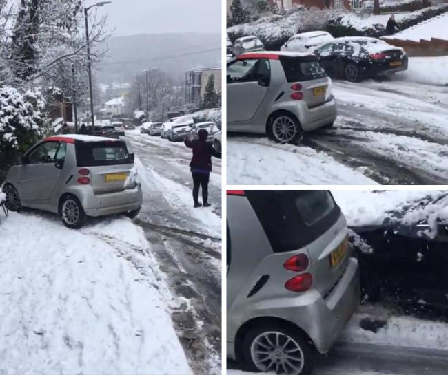 Video that shows crash on steep High Wycombe road in snow goes viral on social media