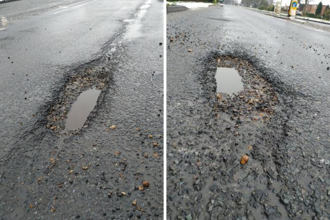 PICTURED: Potholes on the A413 which