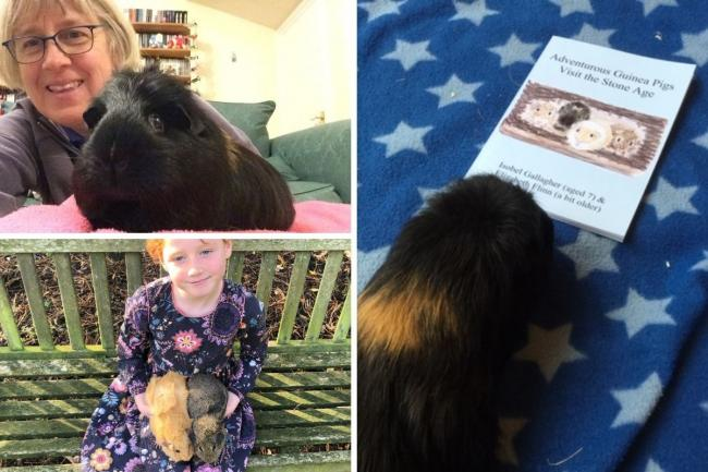 Elizabeth Flinn with Charles (top left) and Isobel Gallagher, 7, with her guinea pigs (bottom left)