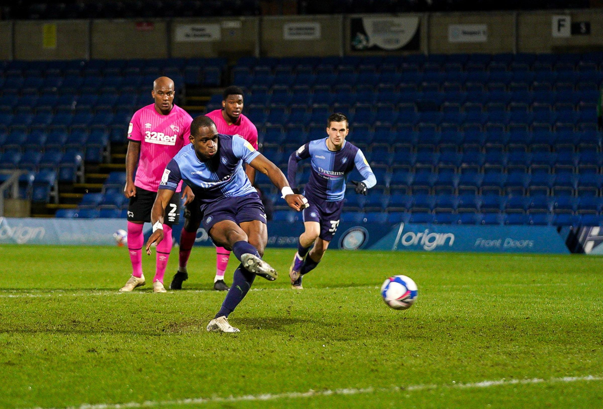 Uche Ikpeazu dispatches the penalty early in the second half (Prime Media)