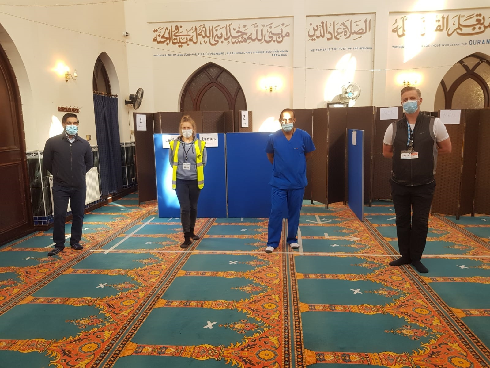 Members of the vaccination team visit Aylesbury Mosque