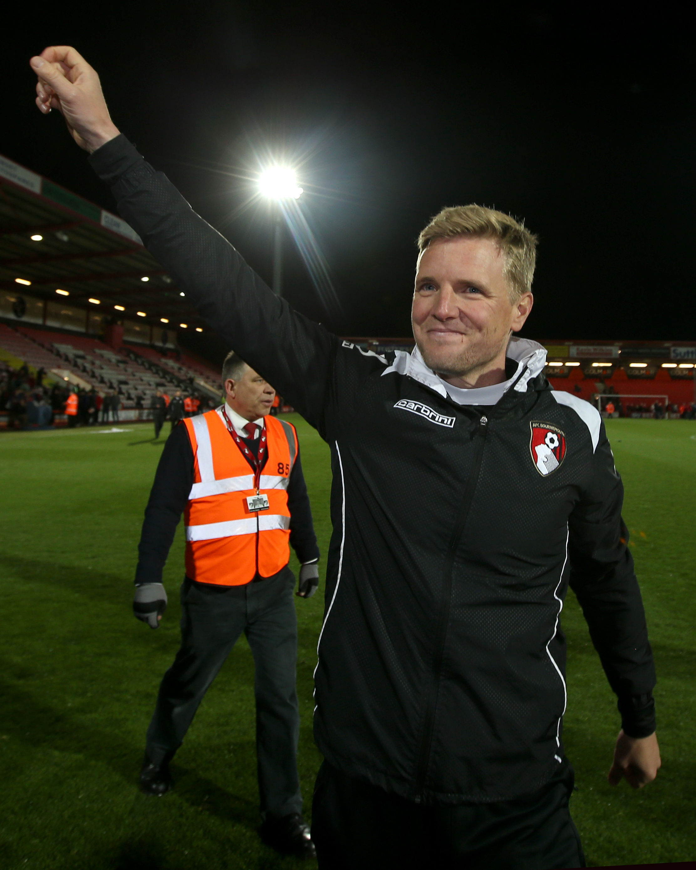 Eddie Howe celebrates the Cherries promotion to the Premier League in 2015 (PA)