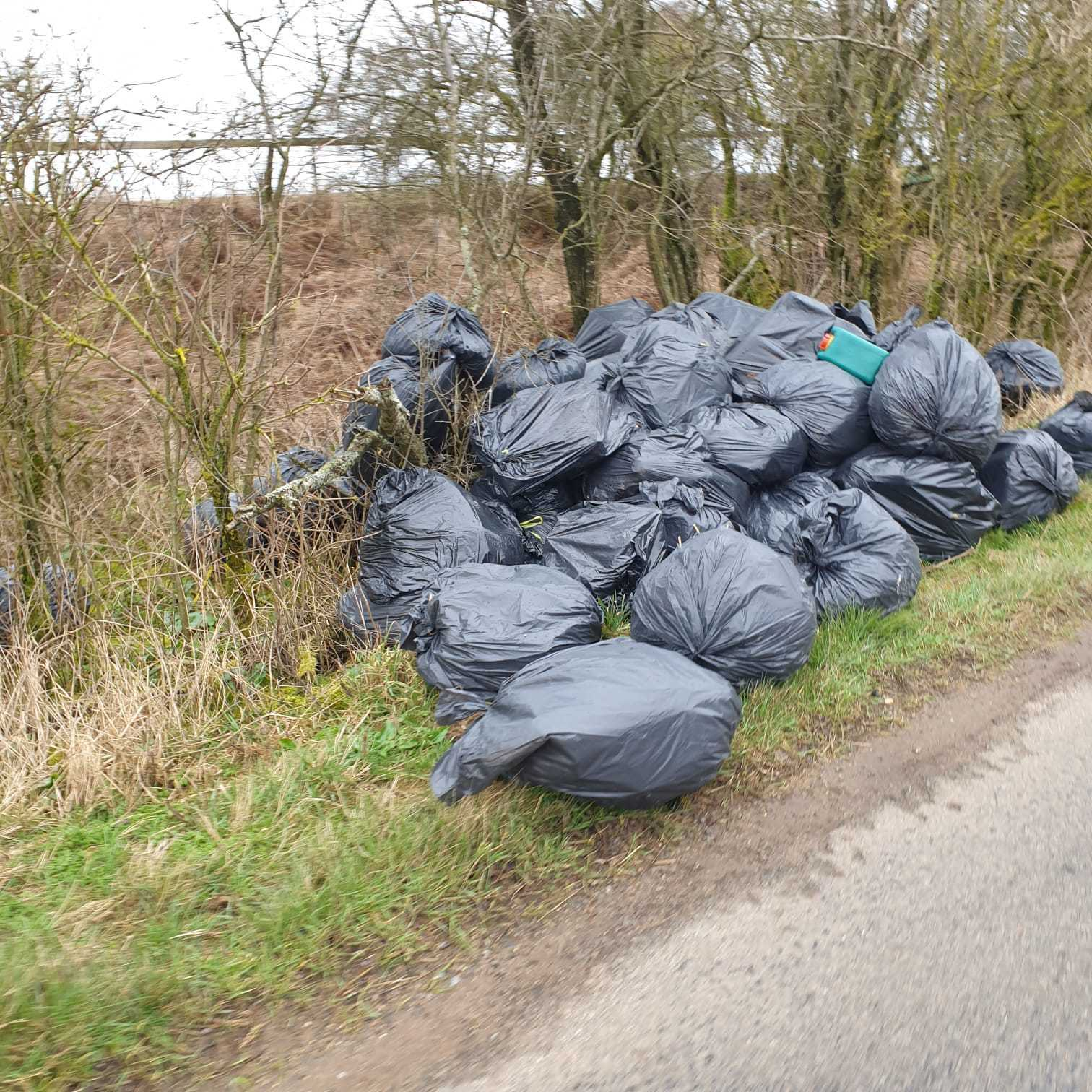 Around 50 bags were left at the side of the road in Brill
