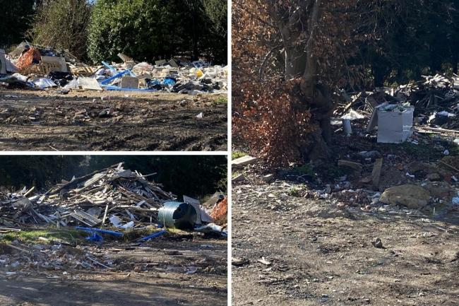 The waste that has built up behind the old Red Lion building in Great Missenden. Pictures submitted by a reader