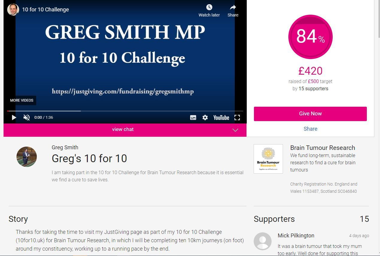A screenshot from Gregs JustGiving page