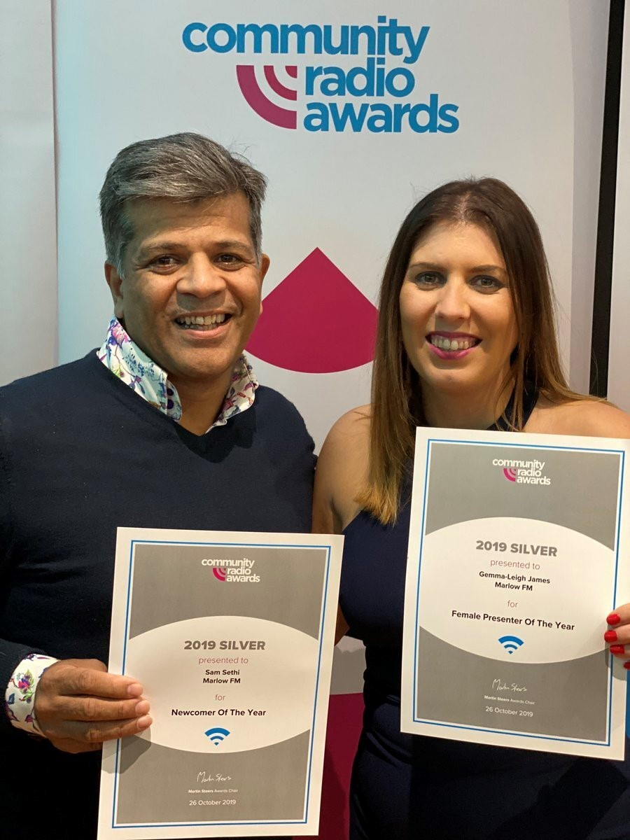 "Sam Sethi 'Newcomer of the Year' 2019 & Gemma-Leigh James ""Female Presenter of the Year' 2019 and 2020"