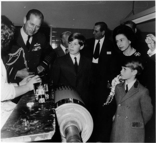 Bucks Free Press: Members of the Royal Family, The Queen, Prince Philip, Princes Andrew and Edward, on an official visit to Harrisons factory, Hughenden Avenue, High Wycombe. May 1972
