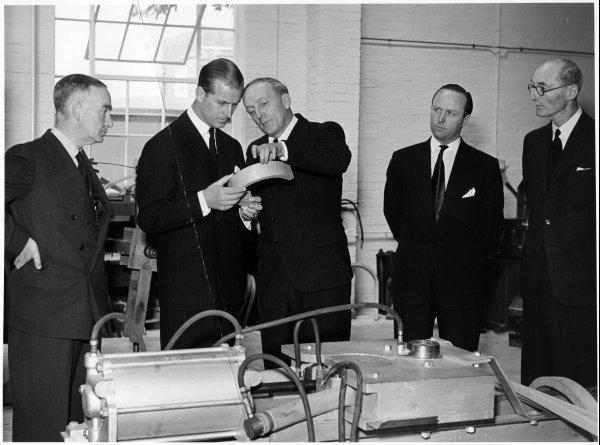 Bucks Free Press: Prince Philip on a visit to the Forest Products Research Laboratory, Princes Risborough. April 1952