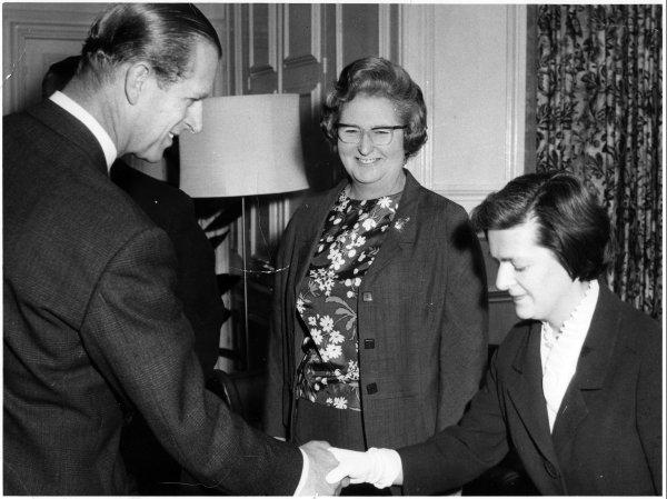 Bucks Free Press: Two women, one called Jackie Blake, being presented to Prince Philip. Location unknown. Around the 1960s