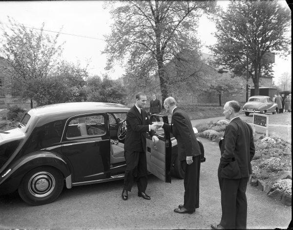Bucks Free Press: The Duke of Edinburgh being greeted on his arrival at the Forest Products Research Laboratories, Princes Risborough