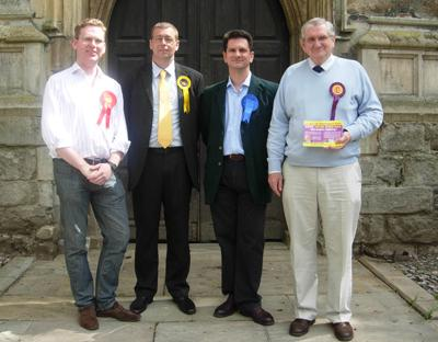 Cllr Steve Guy with fellow parliamentary contenders for the 2010 General Election