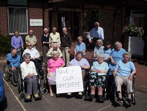 Day centre users protest against the closure in 2010
