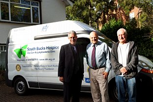 Editor Steve Cohen, chief executive of the South Bucks Hospice, Tony Hardware and van driver Bob Hazell
