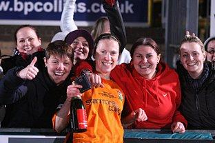 Sally Wade celebrates Barnet's League Cup final win with friends and Wycombe Hospital co-workers