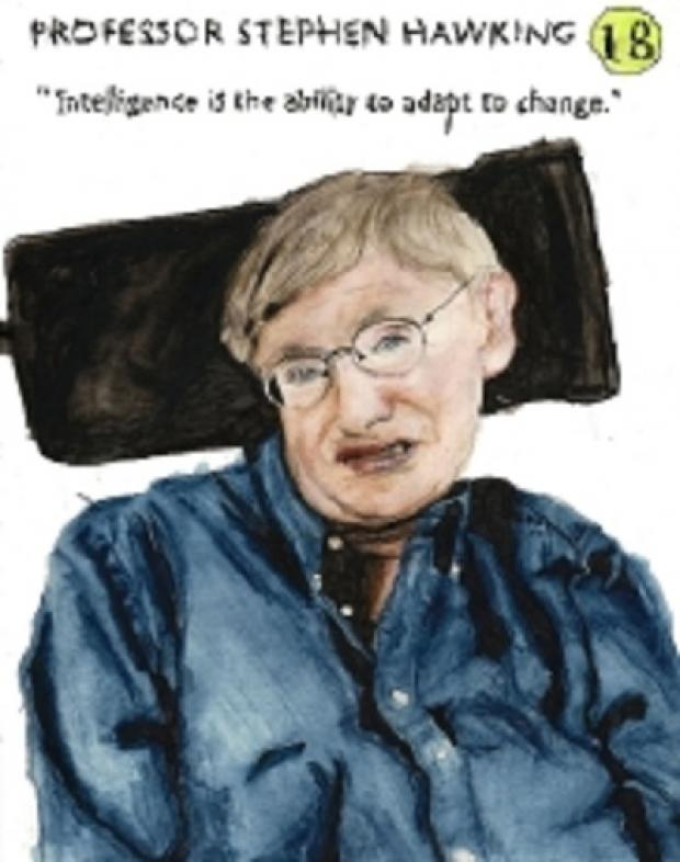 STEPHEN Hawking is among the portraits created by artist and sufferer Patrick Joyce, who labels him a hero, for the charity's Incurable Optimism exhibition