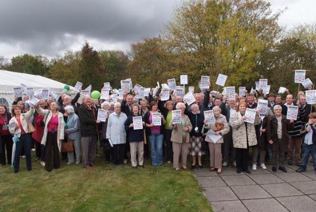 Protesters before a South Bucks District Council meeting in 2009.