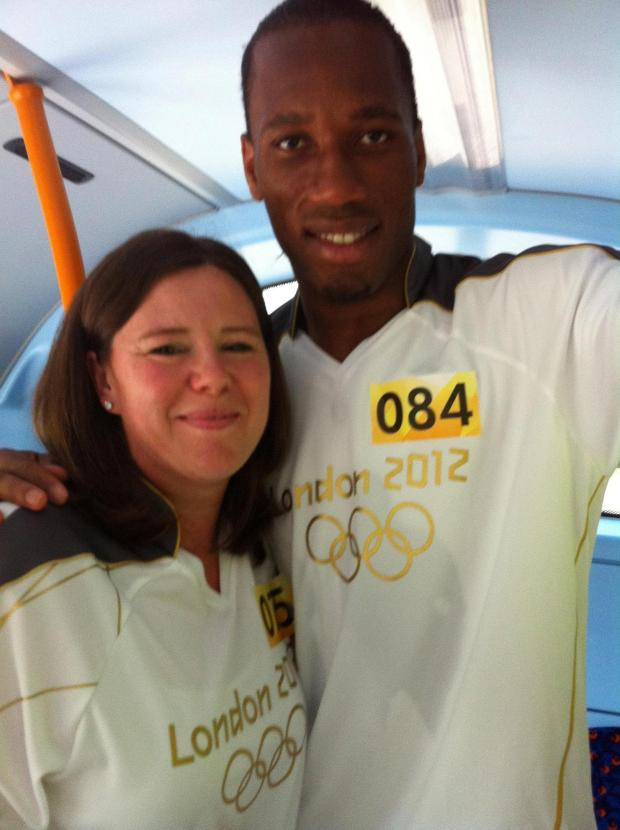 Marlow mum meets Drogba as she carries Olympic flame