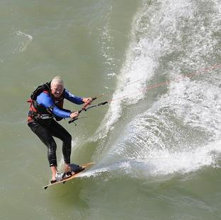 Sir Richard Branson kite-surfs to northern France from Dymchurch in Kent