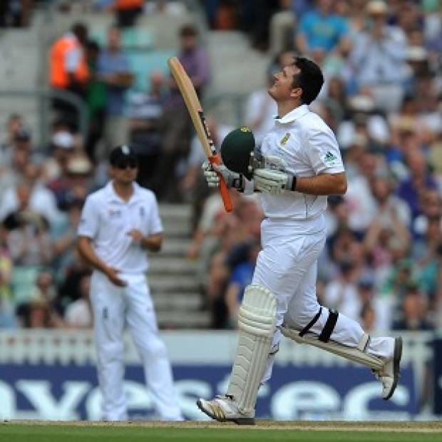 Graeme Smith celebrates a century in his 100th Test