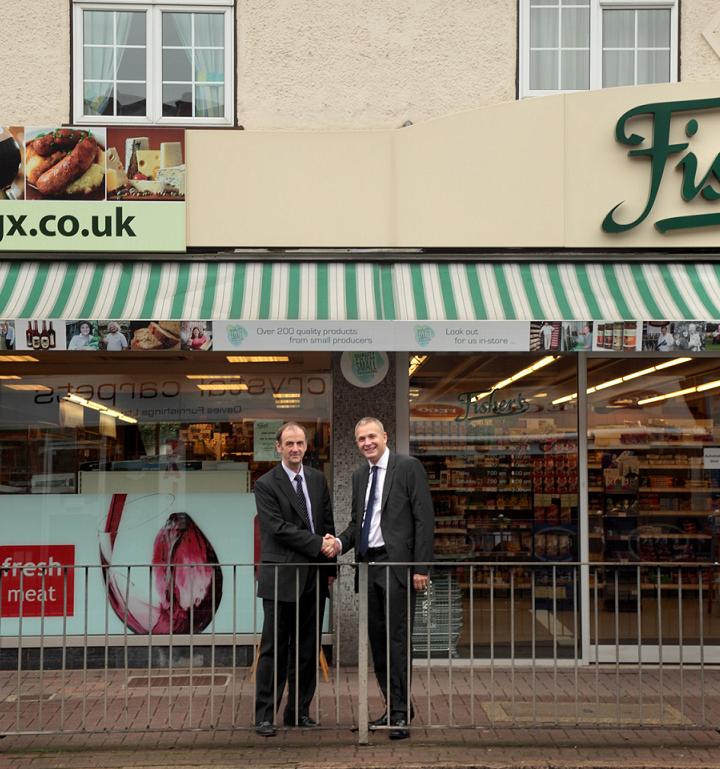 Bill Fisher [Paul's father, left] and Simon Twigger outside Fisher's. Photo by Lauren Mitton Photography