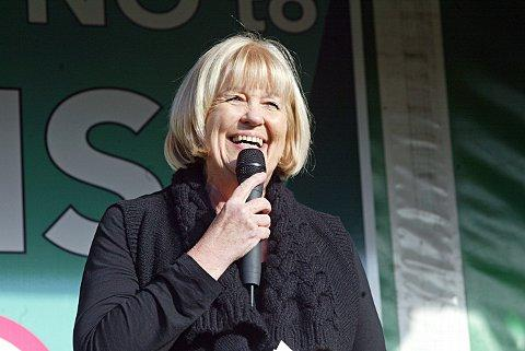 Cheryl Gillan, MP for Chesham and Amersham, at an anti-HS2 rally