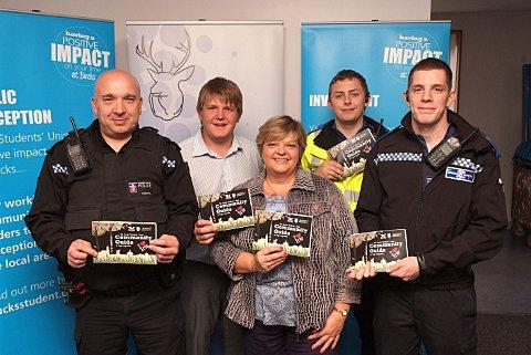 Left to right: Sgt Darren Mitchell, Student Union President Ash Coles, Cllr Katrina Wood, PCSO Daniel Crisp and PCSO David Cook
