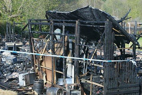 The remains of Chesham Cricket Club's pavilion after a fire last year