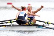 "WE'VE DONE IT: Kat Copeland, in a now-iconic image, screams ""we've won the Olympics, we're going to be on a stamp"" to her partner Sophie Hosking after sealing gold at Eton Dorney in the lightweight sculls in August"