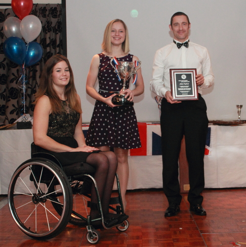 GONG HO: Karla Boddy and Adam Topham, with guest of honour on the night, elite wheelchair athlete  Nikki Emerson