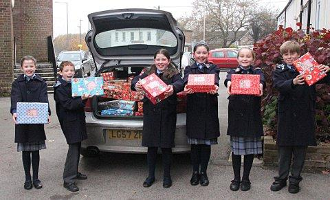 Pupils help fill Bosnian Christmas boxes