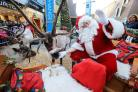 Father Christmas and reindeer in Palace Exhange shopping centre on Saturday