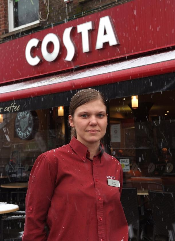Daga, the manager at Costa in Bourne End