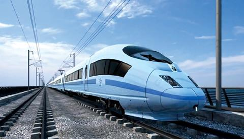 An artists impression of an HS2 train