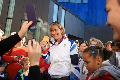 Katherine Grainger shows off her gold outside the BNU
